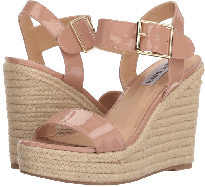 A lofty espadrille platform adds a bit of earthy style to this standout ankle-strap sandal