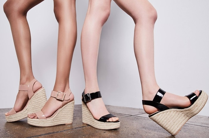 A lofty Santorini espadrille platform adds a bit of earthy style to this standout ankle-strap sandal