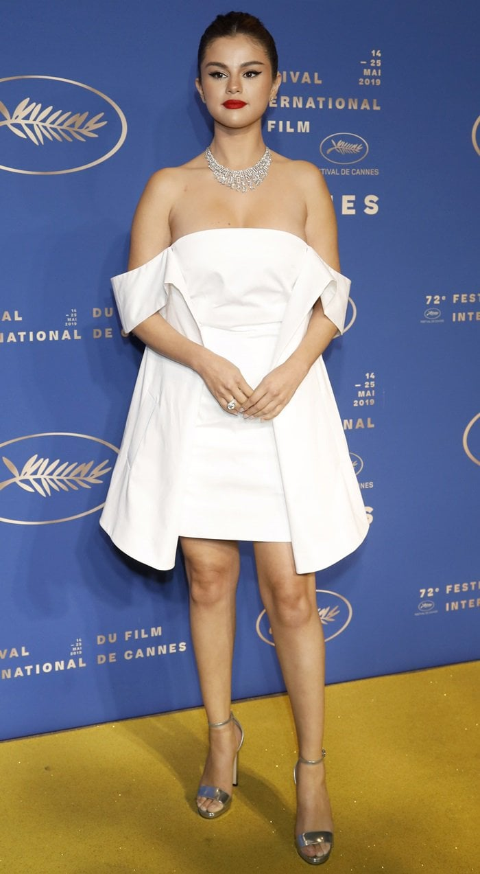Selena Gomez's sexy legs in a Louis Vuitton dress Cannes at the Gala Dinner