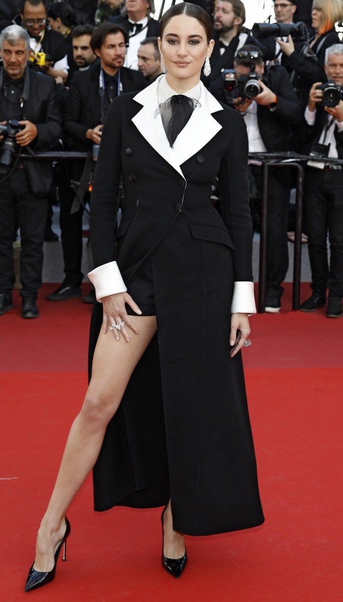 Shailene Woodley paraded her legs on the red carpet while attending the Rocketman premiere