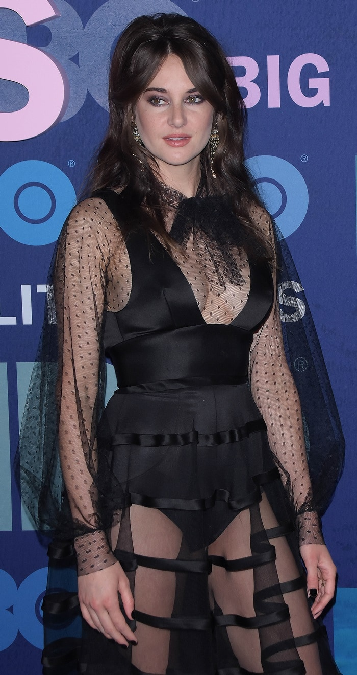 Shailene Woodley's trashy sheer dress with polka-dot embroidered sleeves and a pussy bow tie neck