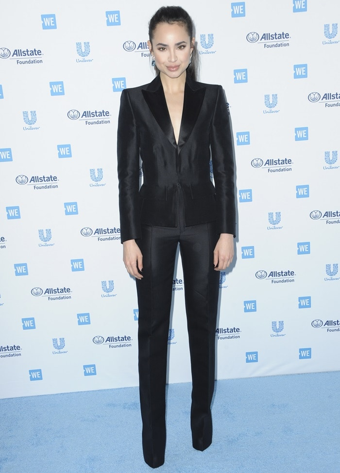 Sofia Carson in a DSquared2 suit at the WE Day California 2019 at The Forum in Inglewood, California, on April 25, 2019