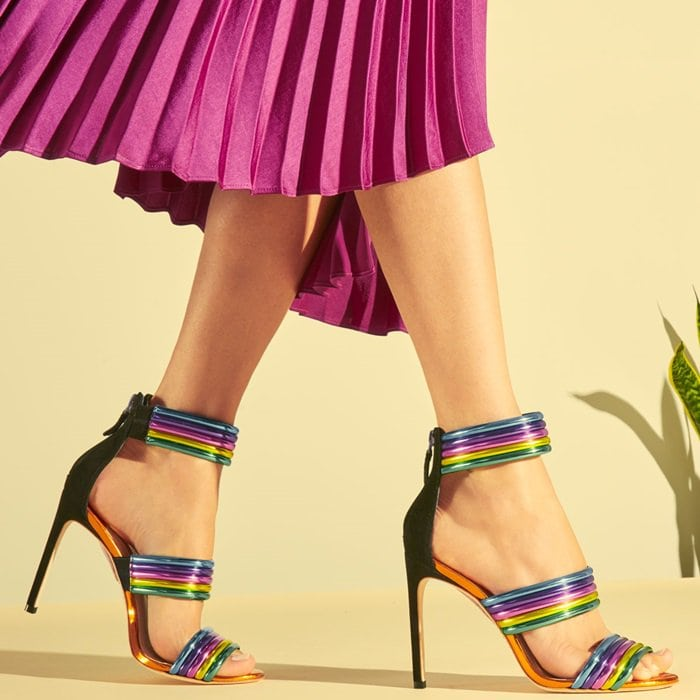 Sophia Webster neon colorblock shiny leather sandals