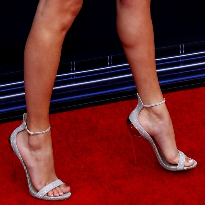 Taylor Swift's open toe glitter sandals from Casadei