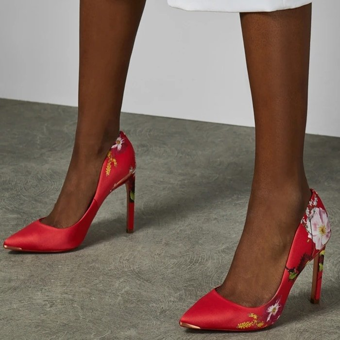 Red floral MELNIP printed high heel courts