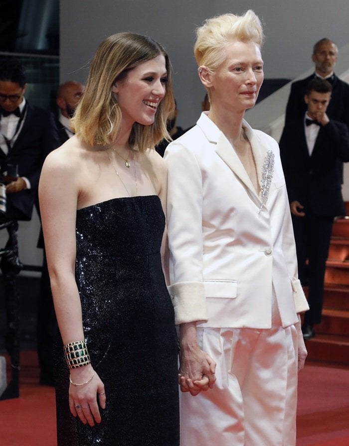 Tilda Swinton holds hands with daughter Honor Swinton Byrne at the screening of Parasite in Cannes, France, on May 21, 2019