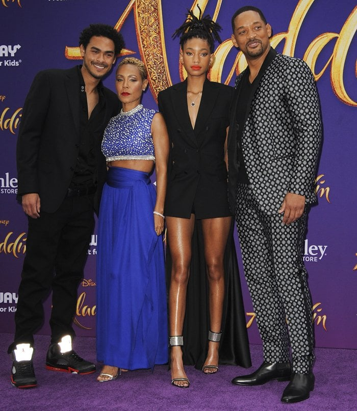 Jada Pinkett Smith and her husband Will Smith were joined by their children Willow and Trey at the premiere of Aladdin