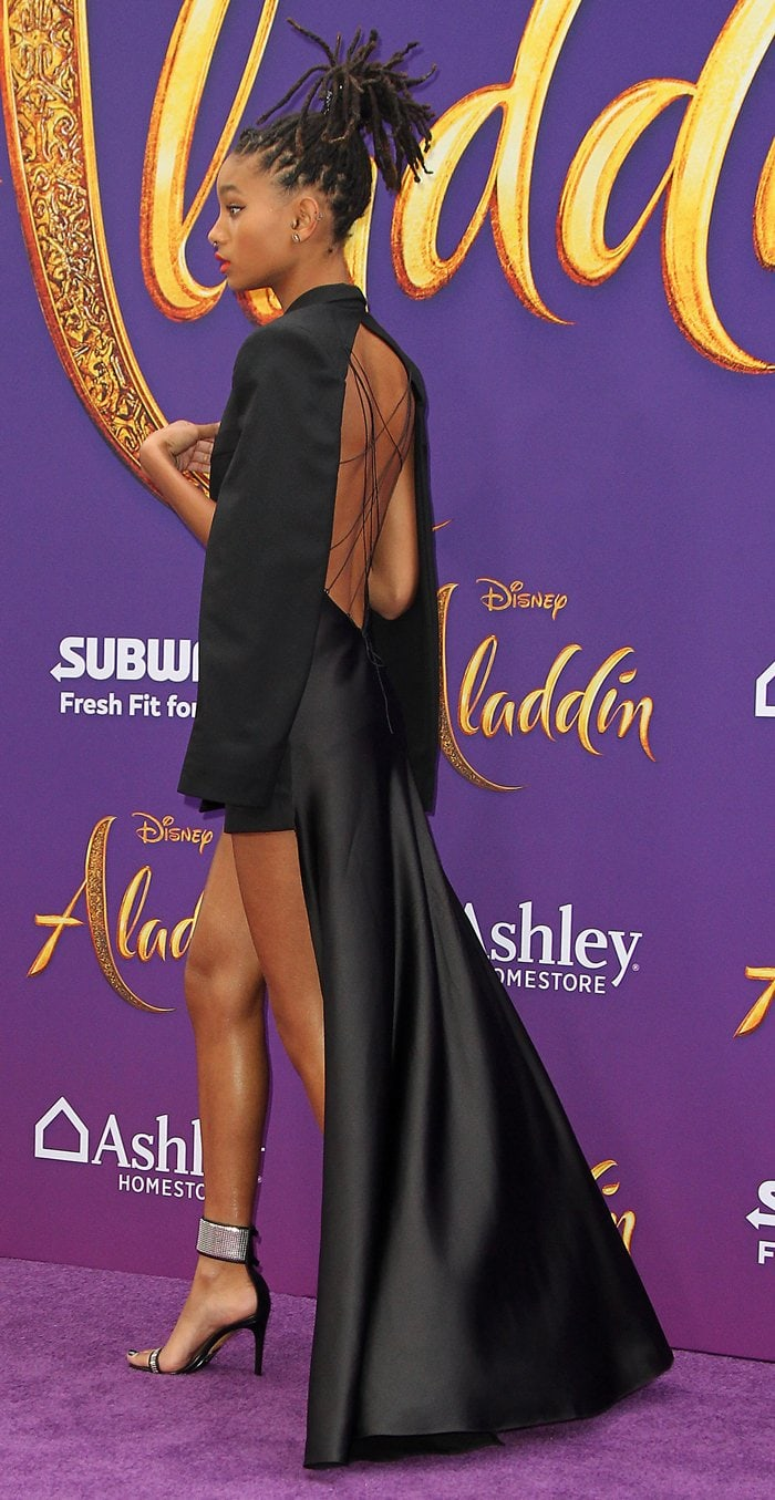 Willow Smith's sexy black dress features an open back
