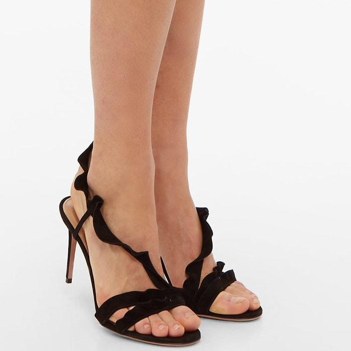 The romantic straps on Aquazzura's black Ruffle sandals add an extra feminine flourish to the classic slingback sandal