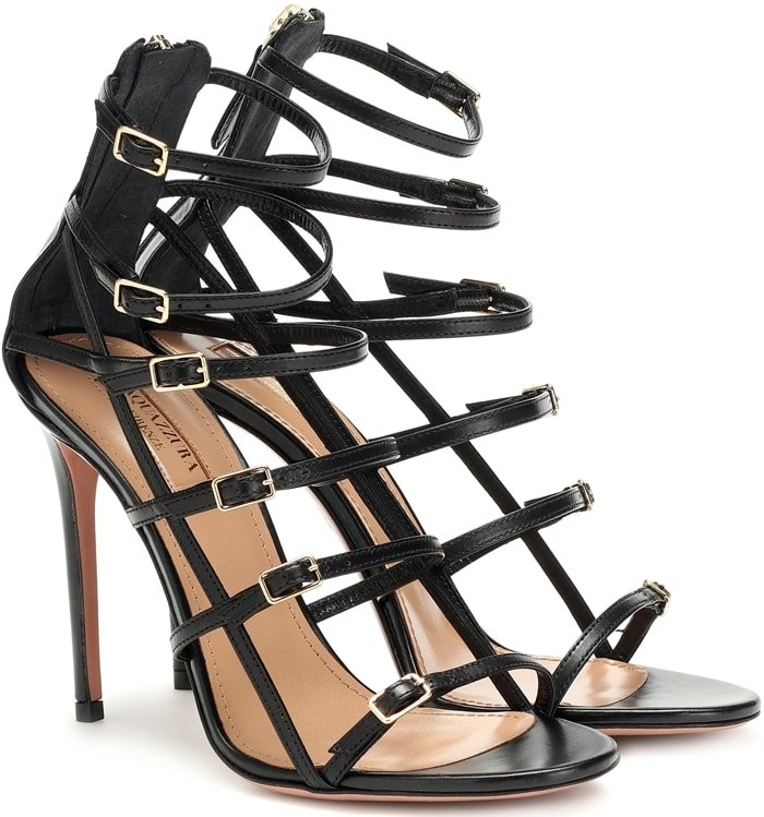These sandals have been made in Italy from black leather and have slender straps which form a lattice around the foot