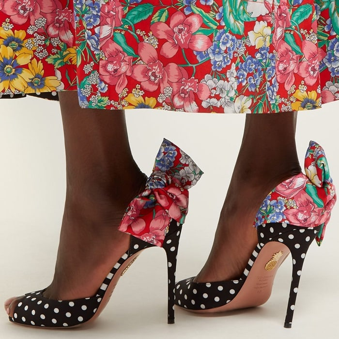 These Versailles peep toe sandals feature floral and polka dot prints