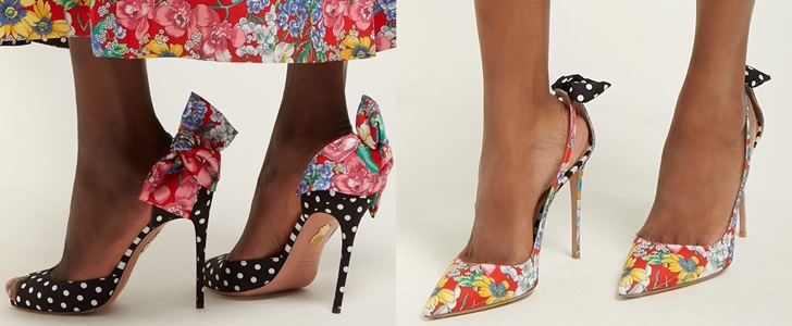 Floral-Print Bow Pumps by Racil Chalhoub and Edgardo Osorio
