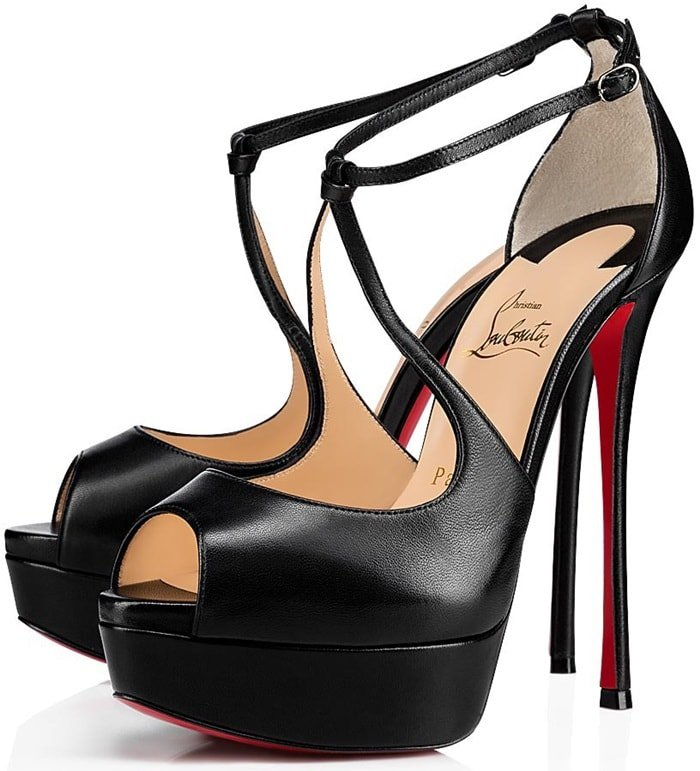 Christian Louboutin Alminalta Napa Red Sole Sandals Black