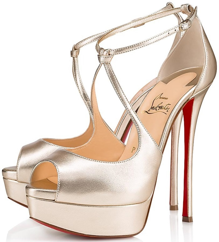 The peep-toe model features two straps that hug the ankle stemming from an abbreviated heel counter