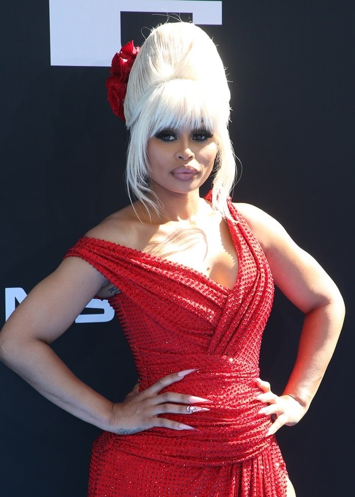 Blac Chyna's red sparkling dress by Bryan Hearns