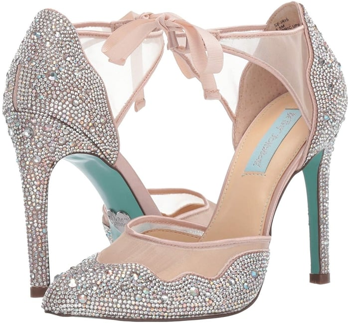 A collection of sparkly jewels trim this dazzling pair of heels
