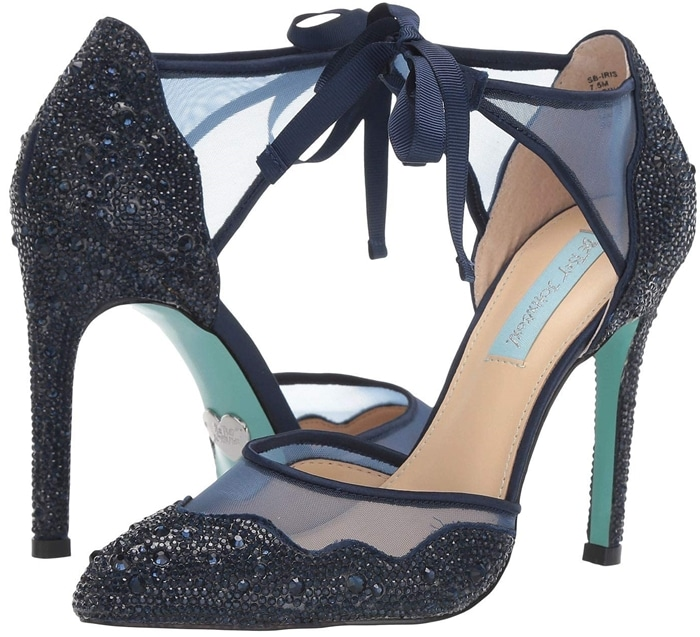 Embellish your look with the eye-catching Blue by Betsey Johnson Iris wedding shoes