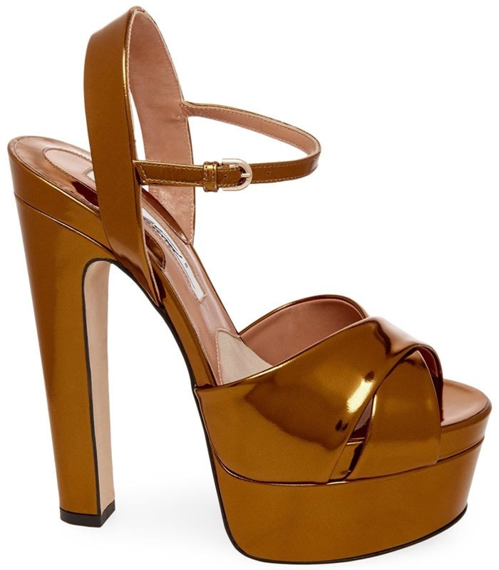 Brian Atwood Madison Platform Sandals in Bronze Metal Nappa