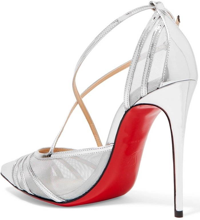 Made in Italy from metallic silver leather and mesh, this 100mm pair has a sleek pointed toe and slim crossover straps that elegantly frame your feet