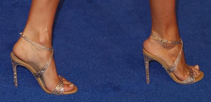 Carrie Underwood in Rene Caovilla Krisabrita diamante ankle strap sandals