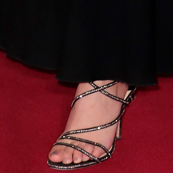 Charli XCX's sexy feet in Jimmy Choo Dudette sandals