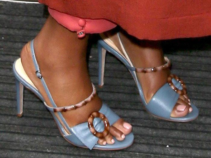 Gabrielle Union in Chloe Gosselin 'Celeste' sandals in cornflower blue leather