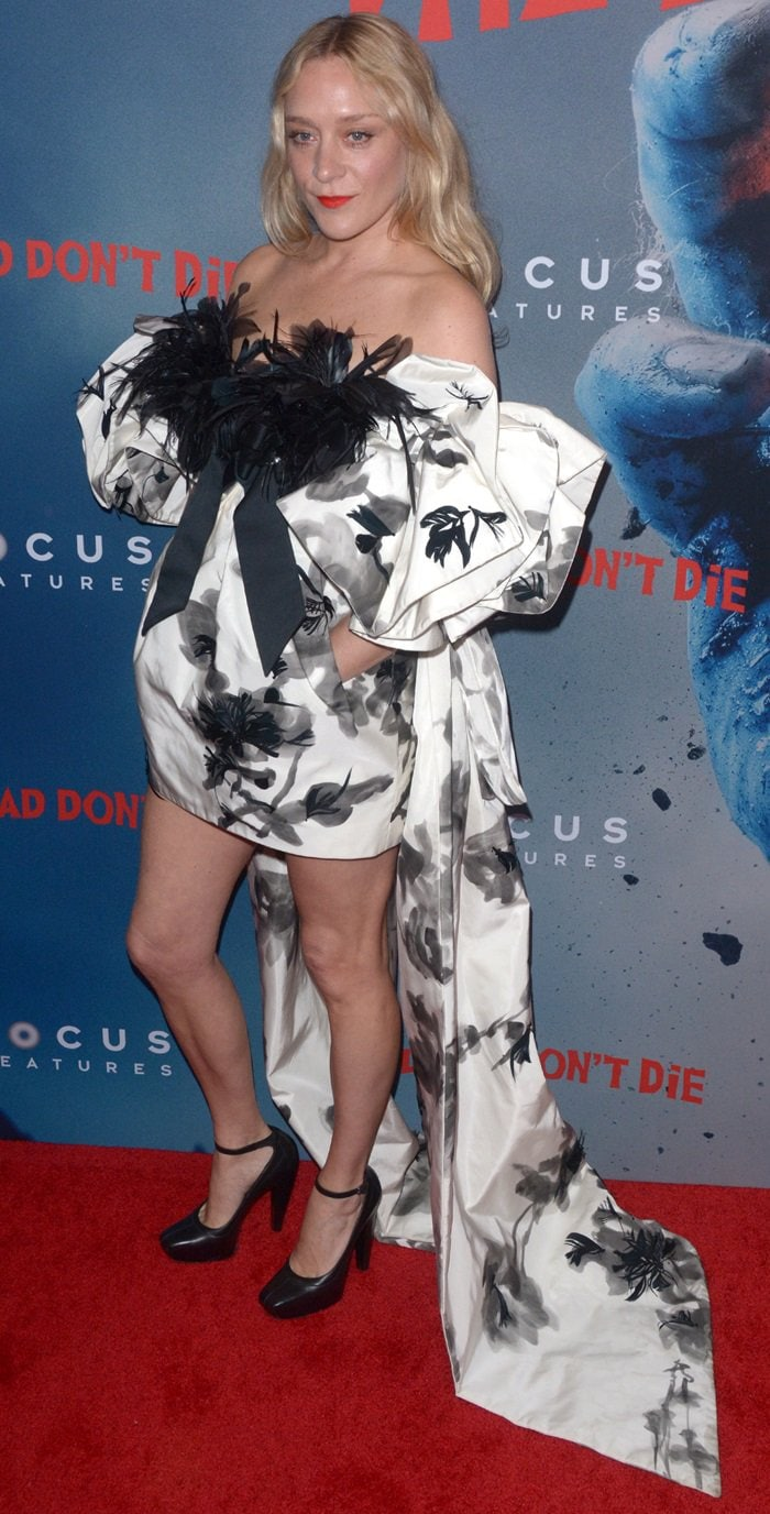Chloe Sevigny's bed sheet dress at the premiere of her new movie The Dead Don't Die