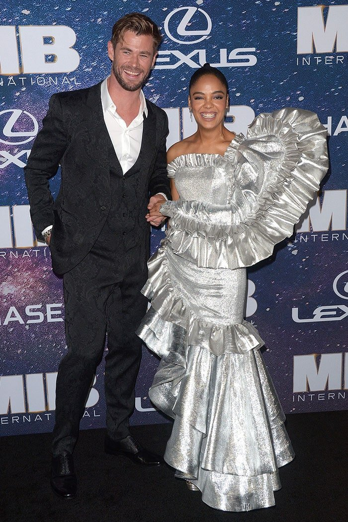 Chris Hemsworth and Tessa Thompson at the Men In Black: International premiere
