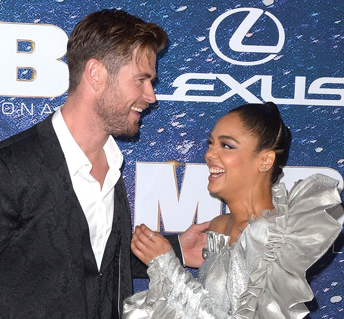 Chris Hemsworth and Tessa Thompson being cute and sharing a laugh