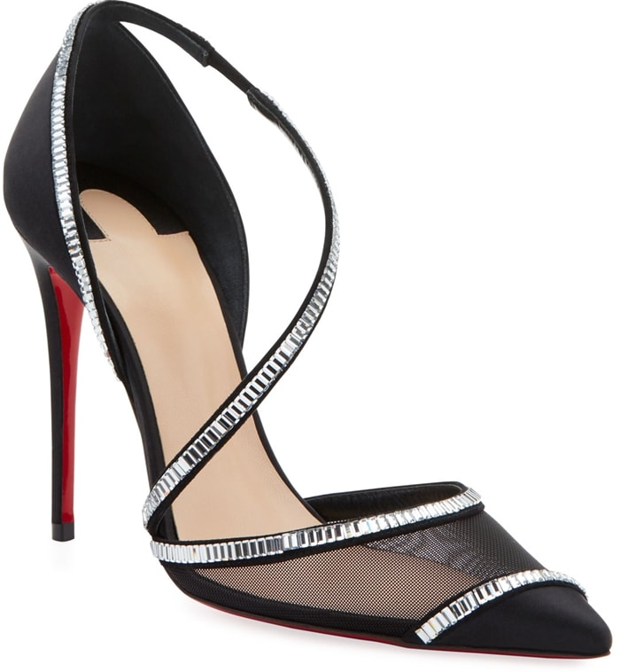 Christian Louboutin leather pumps with tile work crystal embellishments