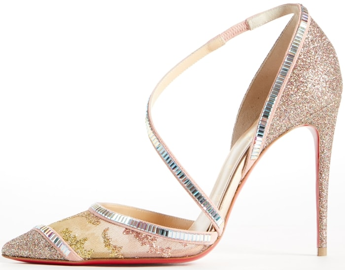 Chiara Diams pumps in crushed glitter, glittered mesh, holographic tile and suede