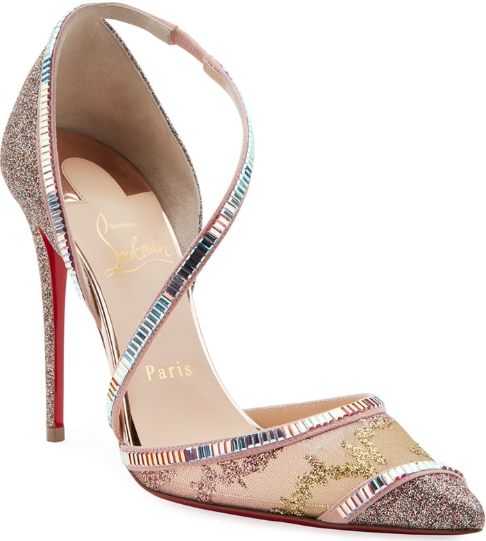 Glittering embellishment on mesh and leather pumps, finished with dazzling beaded trim
