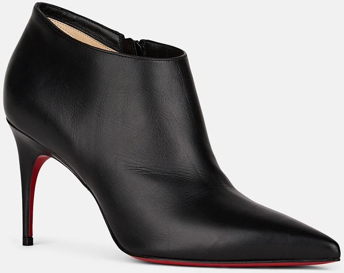 Christian Louboutin's Gorgona ankle boots are crafted of black smooth leather