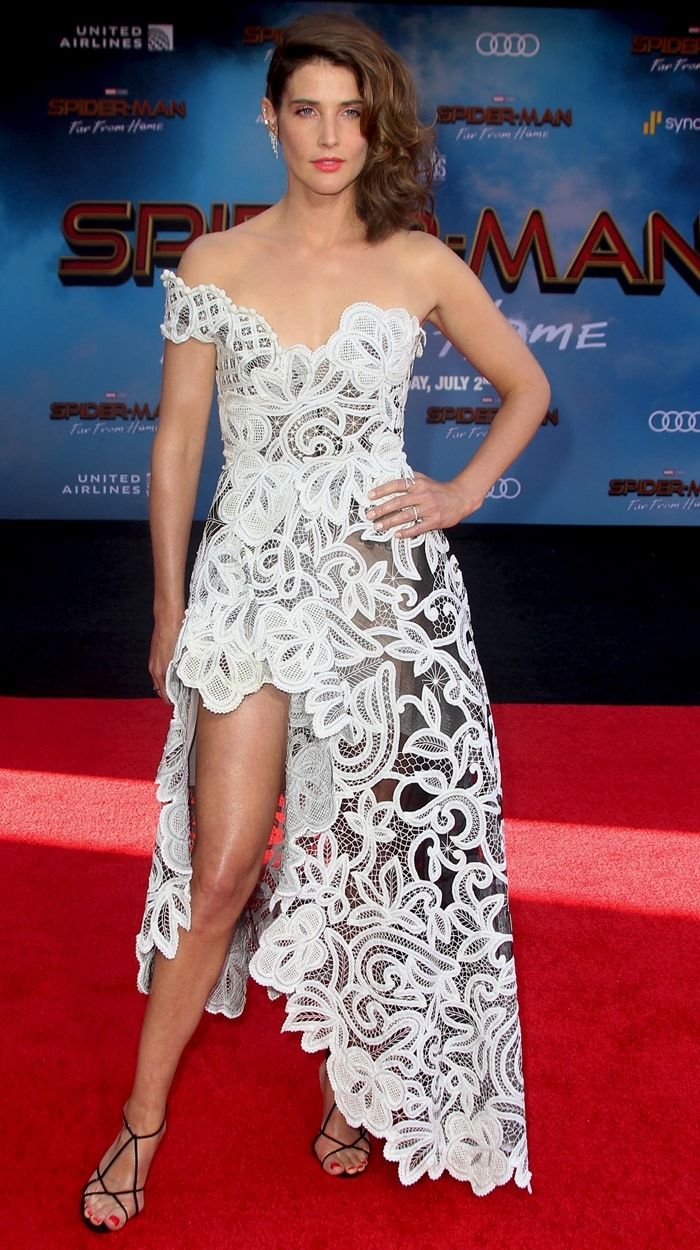 Cobie Smulders must have lost a bet that forced her to wear this ugly curtain dress