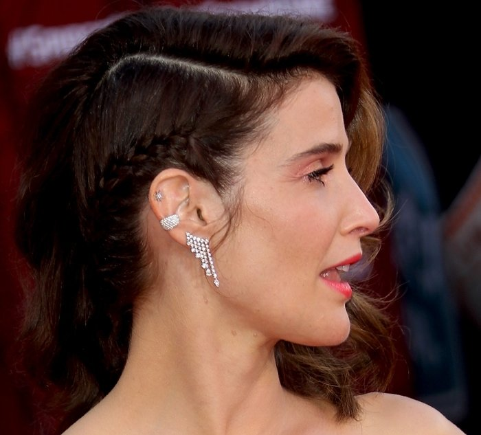 Cobie Smulders accessorized with a selection of silver ear cuffs