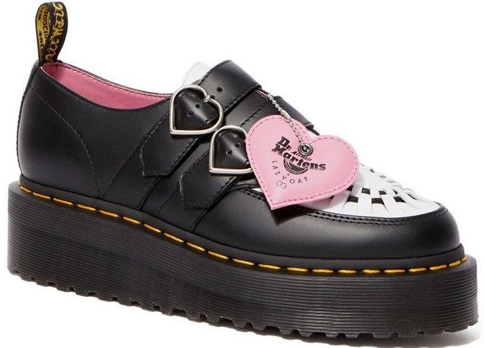 Black and White Dr. Martens Lazy Oaf Buckle Creepers