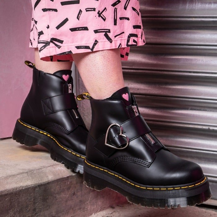 The new Buckle Boot is crafted from black Smooth leather and features a statement heart shaped nickel buckle and a pink heart tag