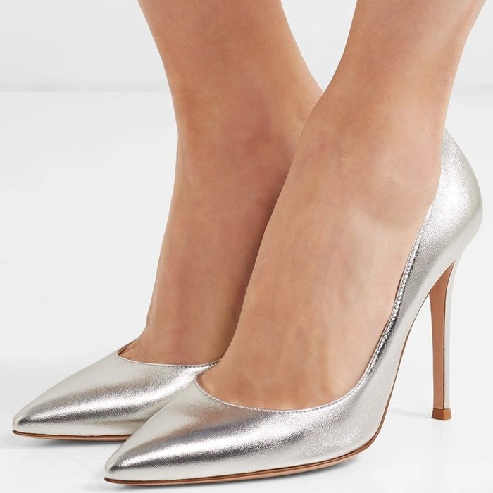 Gianvito Rossi's silver pumps demonstrate that jewelry isn't the only thing that can add a little shine to your outfit