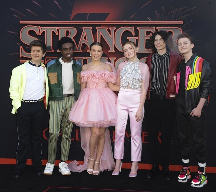 Gaten Matarazzo, Caleb McLaughlin, Finn Wolfhard, Noah Schnapp, Sadie Sink, and Millie Bobby Brown attend the Season 3 premiere of Stranger Things