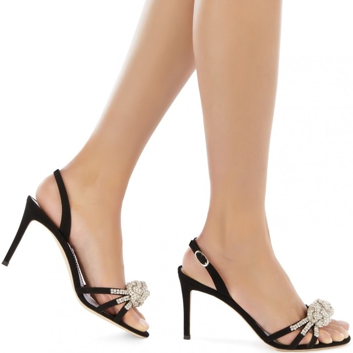 These black Blossom sandals are crafted from leather and feature an almond toe, a knot detail, crystal embellishments, a branded insole, a high stiletto heel and a slingback ankle strap