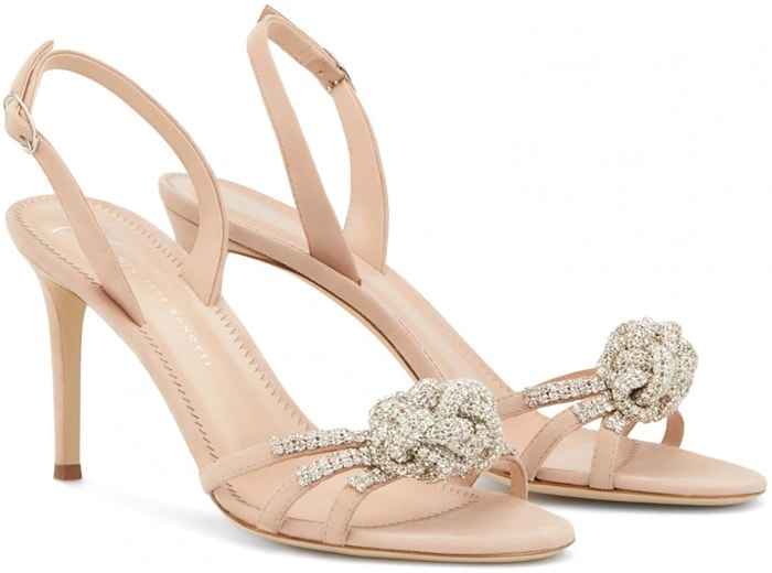 """These sandals are crafted from sunkissed pink suede and adorned with a crystal """"Bow"""" embellishment"""
