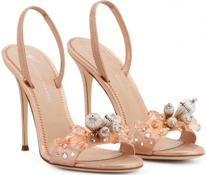 These copper-tone Pearle Gem sandals are crafted from patent leather and feature an almond toe, a branded insole, a stiletto heel, pearl and crystal detailing and an elastic back strap