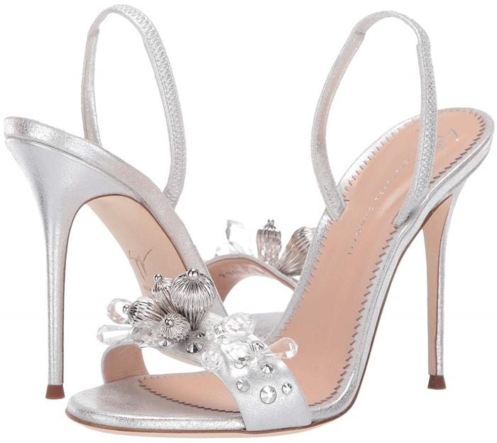 Silver Pearle Gem Studded Slingback Sandals