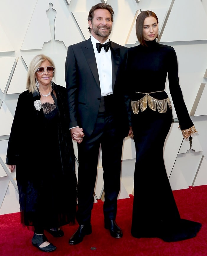 Bradley Cooper with his girlfriend Irina Shayk and his mother Gloria Campano at the 2019 Academy Awards