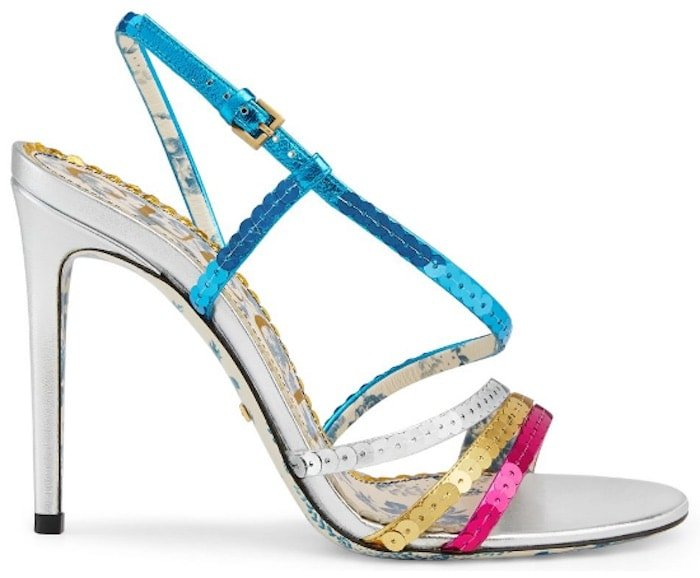 Gucci Metallic Leather Sandals with Sequins