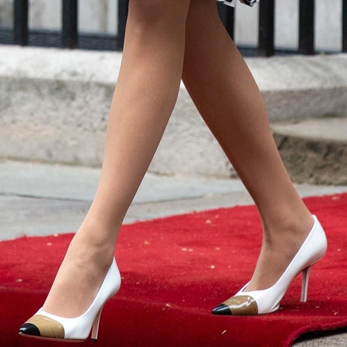 Ivanka Trump's sexy Annalise white patent leather pumps