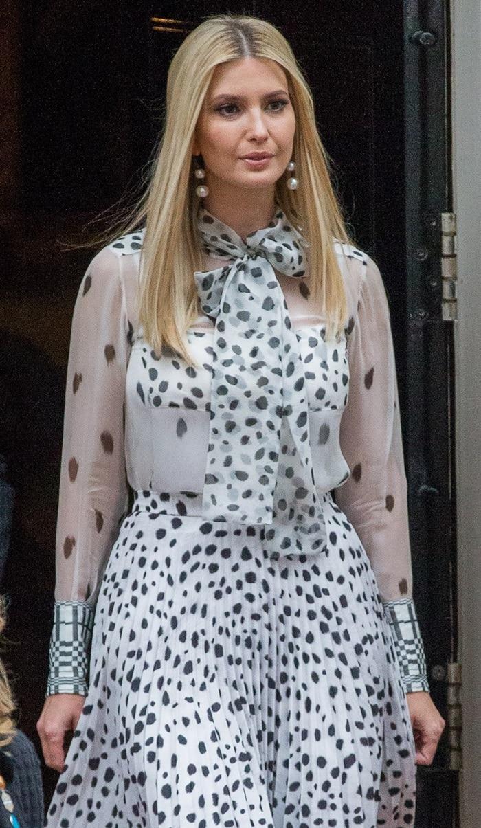 Ivanka Trump's dalmatian-print silk pussy-bow blouse