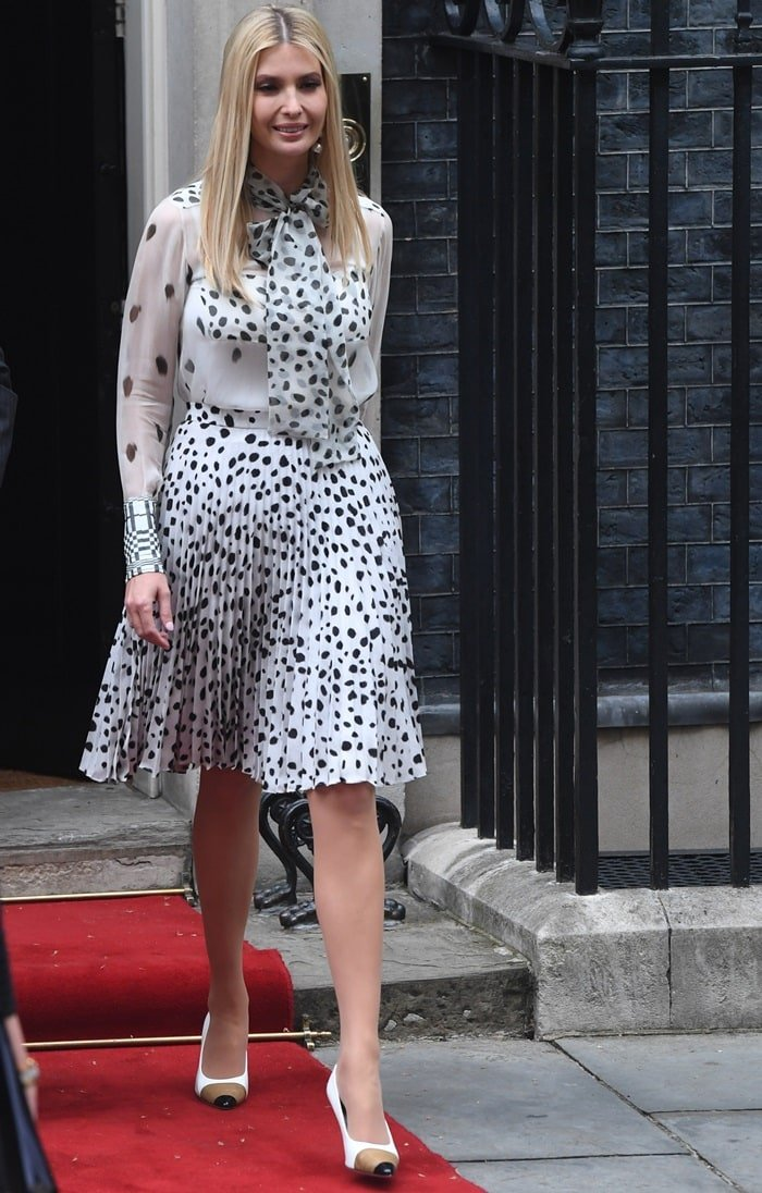 Ivanka Trump flaunted her legs in a pleated dot-print crepe skirt