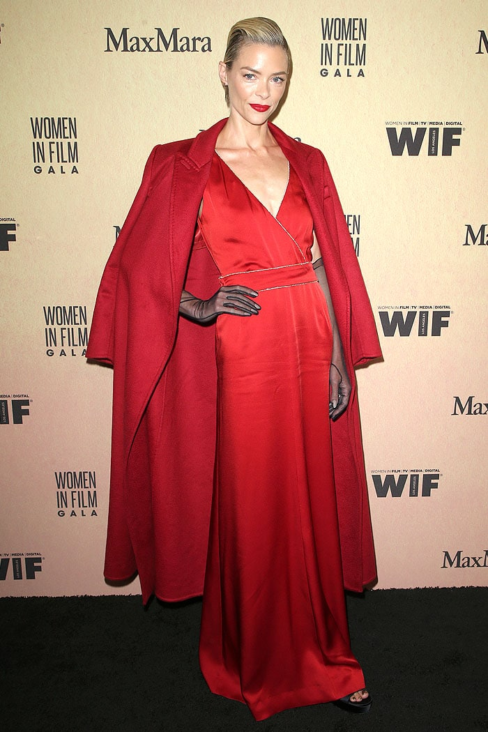 Jaime King in a Max Mara red satin gown