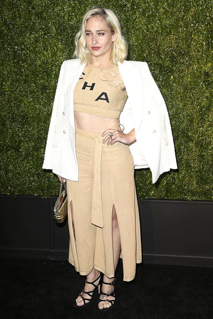 Jemima Kirke wearing the Chanel Spring 2019 crop top with split-front culottes